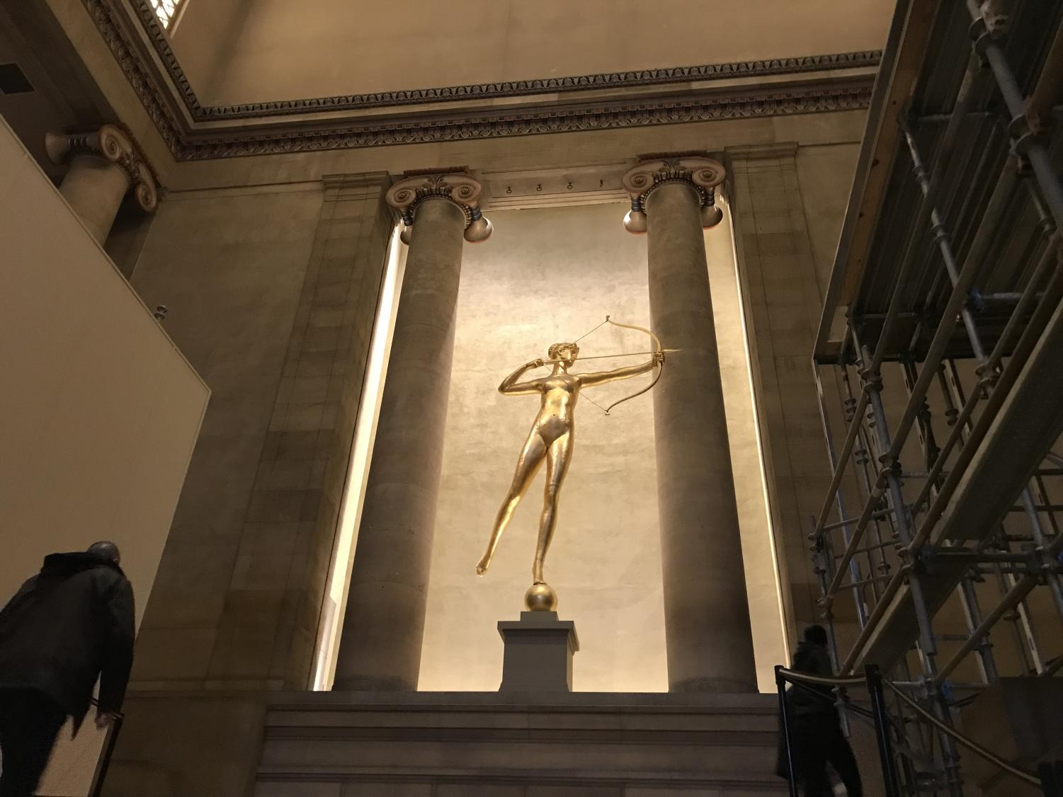 The copper structure, Diana, at the top of the museum's grand staircase.