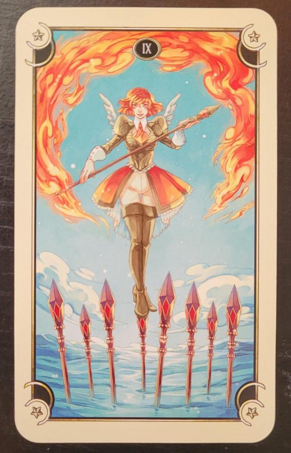 """The Nine of Wands- This card represents a cycle.  As Moore says, there is """"trouble brewing"""".  The card represents persistent conflict that could mean trouble.  Overall, this issue doesn't seem to be going anywhere.  It's another day facing the same issue.  That is unless you find a way to break the cycle."""
